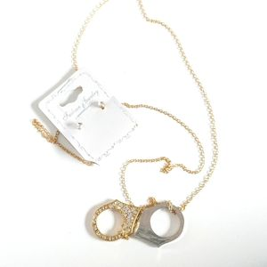 2pc Fashion Handcuff Necklace Earrings